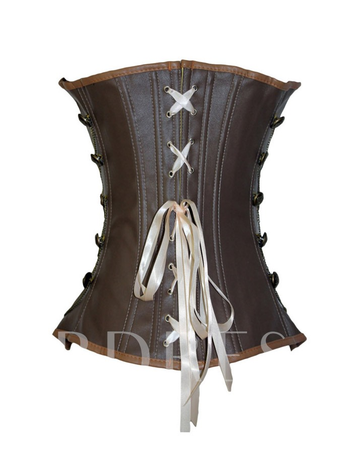 Vintage Brown Artificial Leather Buckles Corset