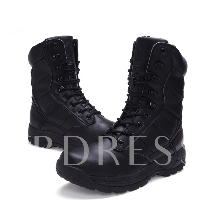 Round Toe Lace-Up Front Flat Low Heel Men's Ankle Boots