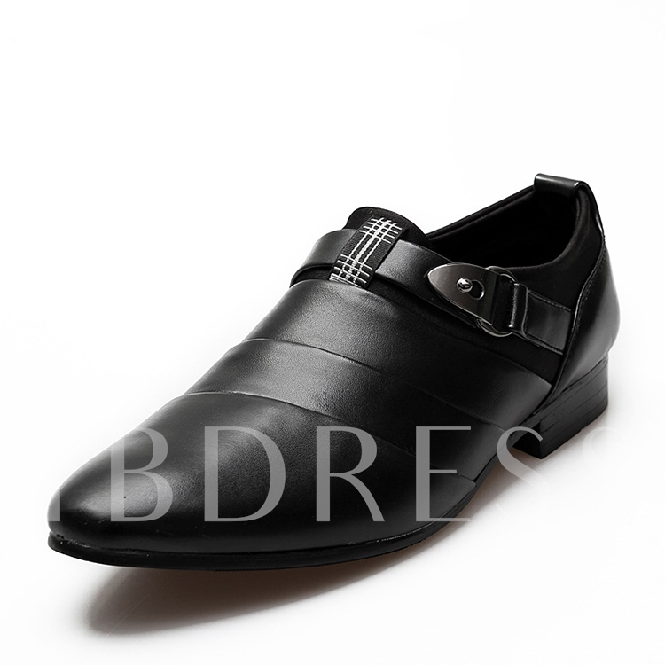 Pointed Toe Slip-On Low-Cut Upper Square Heel Men's Oxfords