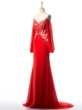 Appliques Sequins Mermaid Long Evening Dress With Sleeves