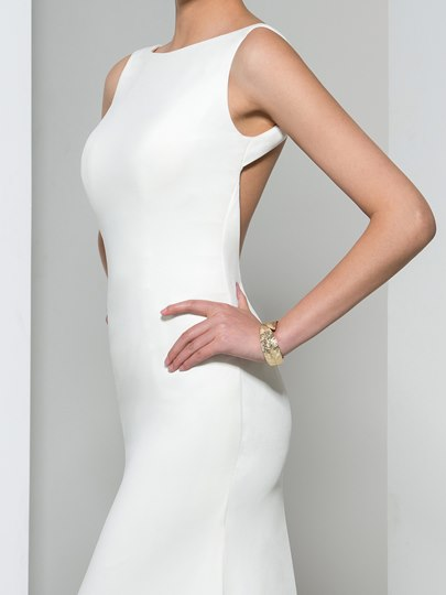 Scoop Neck Open Back Long Evening Dress