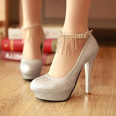 test Silver Sequins Prom Shoes With Tassels