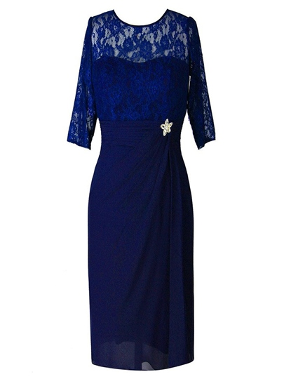 Tea-Length Column Half Sleeves Lace Mother of the Bride Dress