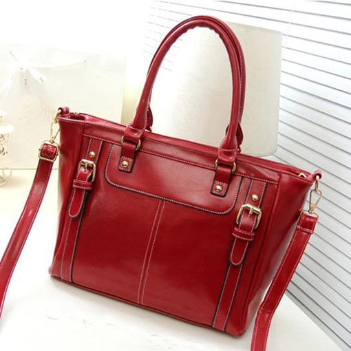 Classical Roomy Belt With Stitching Women's Tote Bag