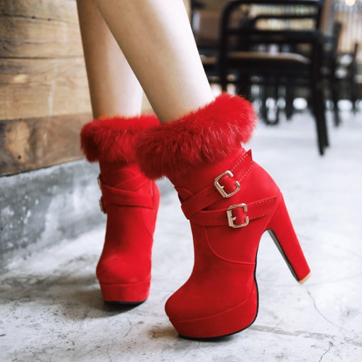 Side Zipper Round Toe Stiletto Heel Short Floss Ankle Women's Boots