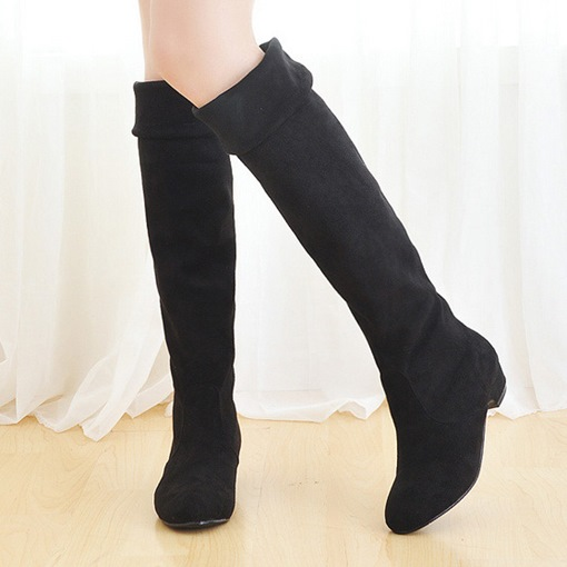 Slip-On Round Toe Square Heel Knee-High Women's Boots