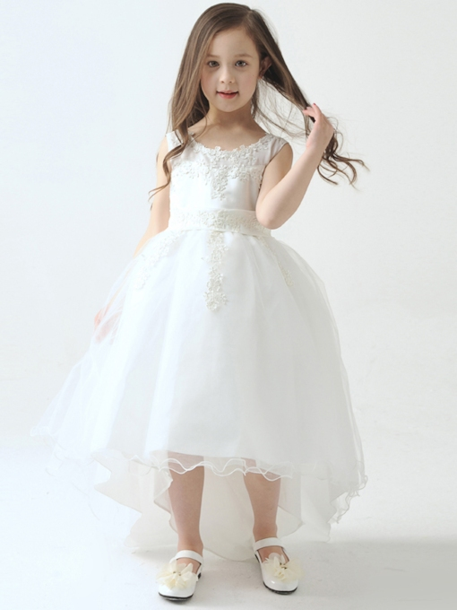 Asymmetry High-Low Lace Tulle Flower Girl Dress