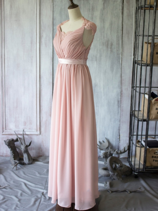 Floor-Length See-Through Lace Back Chiffon Long Bridesmaid Dress