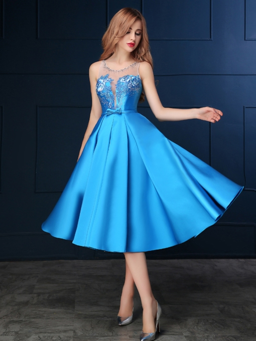 Sheer Neck Bow Embroidery Beading Homecoming Dress