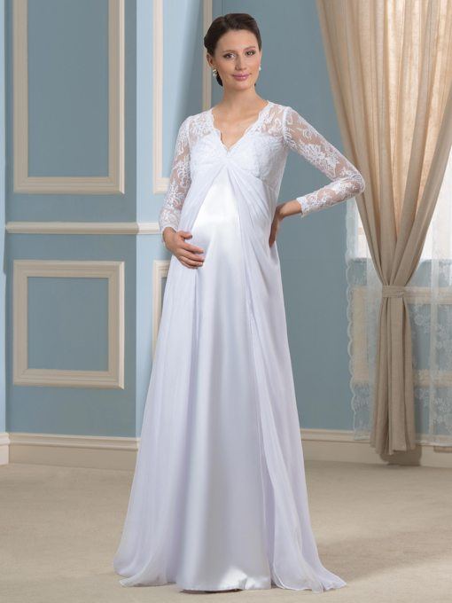 V-Neck Lace Empire Waist Long Sleeves Pregnant Wedding Dress