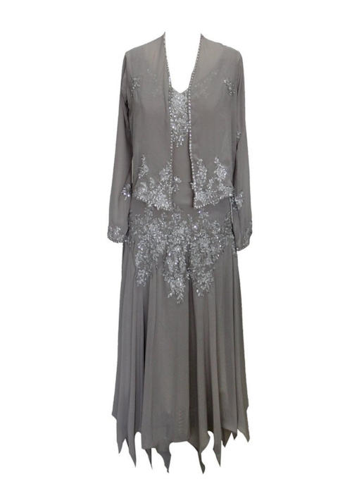 Appliques Sequins Tea-Length Mother of the Bride Dress with Jacket