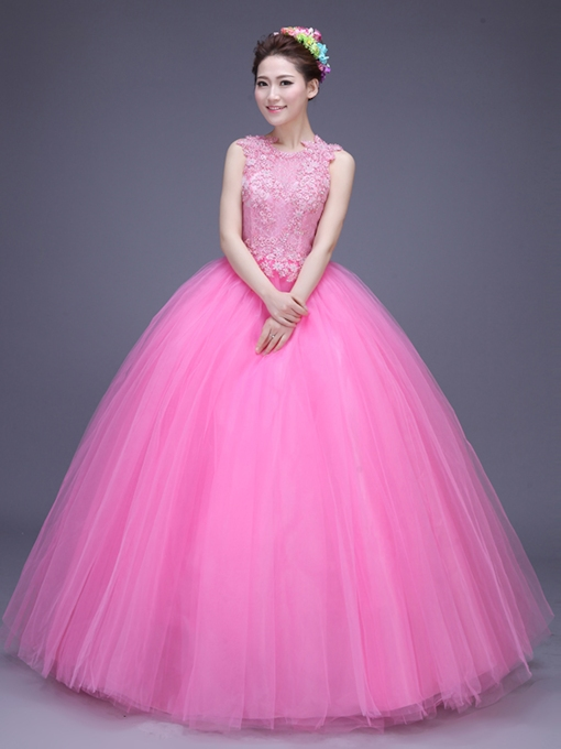 Beading Scoop Appliques Quinceanera Dress