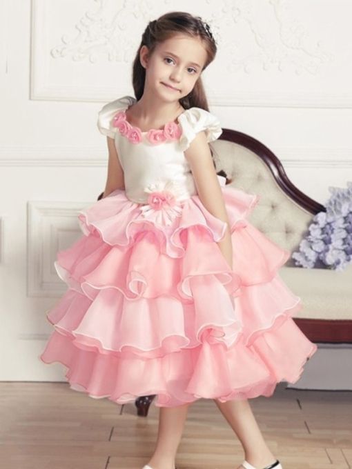 Two-Tone couleur à manches courtes thé longueur Tiered Flower Girl Dress