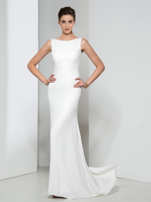 Bateau Neck Open Back Sheath Evening Dress