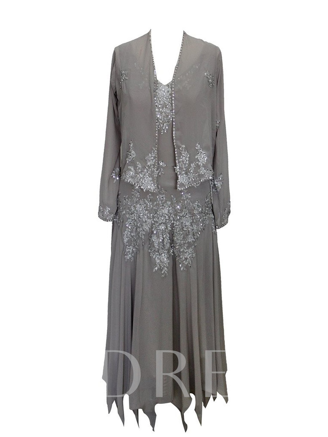 Image of Appliques Asymmetrical Mother of the Bride Dress with Jacket