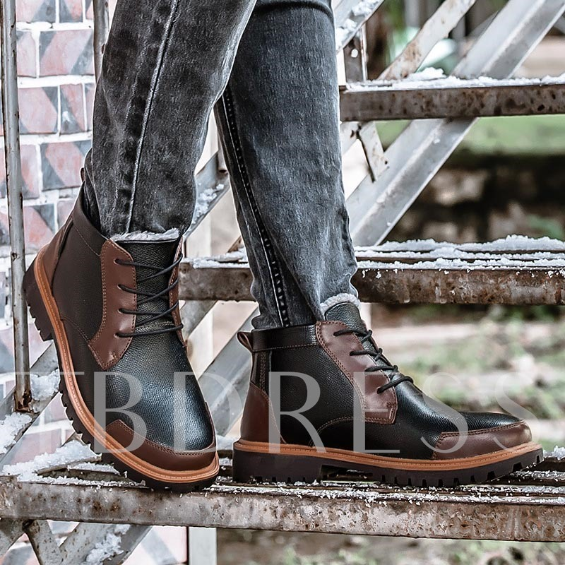 Short Floss Square Heel Round Toe Ankle Men's Boots