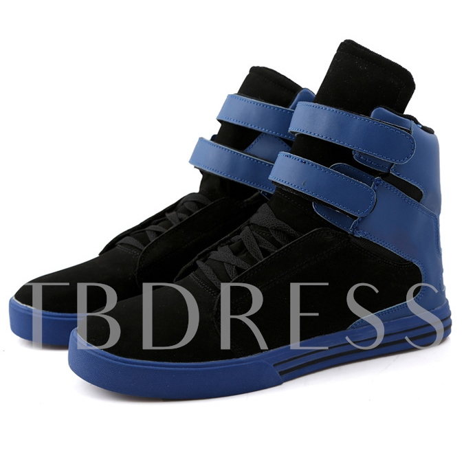 Round Toe Flat Heel Color Block Ankle Men's Sneakers