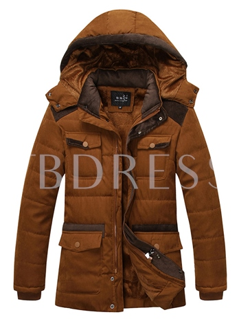Removable Hat Men's Trench Coat