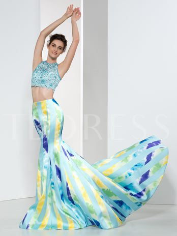 Two-Piece Lace Beaded Mermaid Long Evening Dress