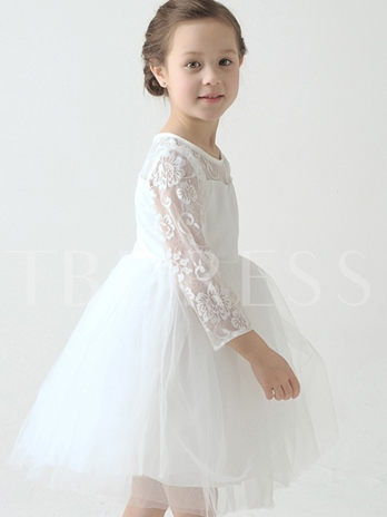 Jewel Long Sleeve Lace A-Line Flower Girl Dress