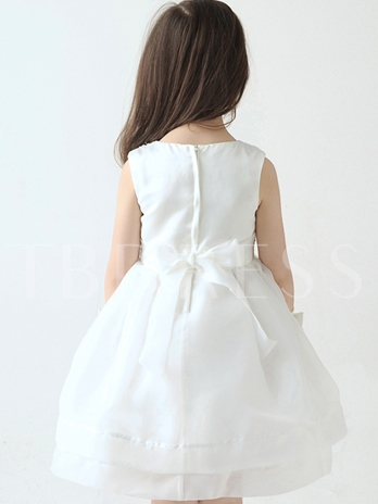 Jewel Neck Lace Knee-Length Flower Girl Dress