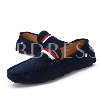 Flat Heel Slip-On Round Toe Contrast Color Men's Loafers