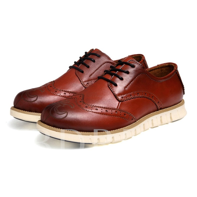 Round Toe Flat Heel Plain Lace-Up Front Men's Oxfords