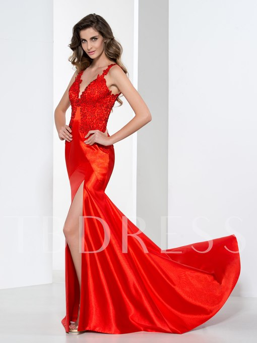 Straps V-Neck Side-Split Appliques Sheath Evening Dress
