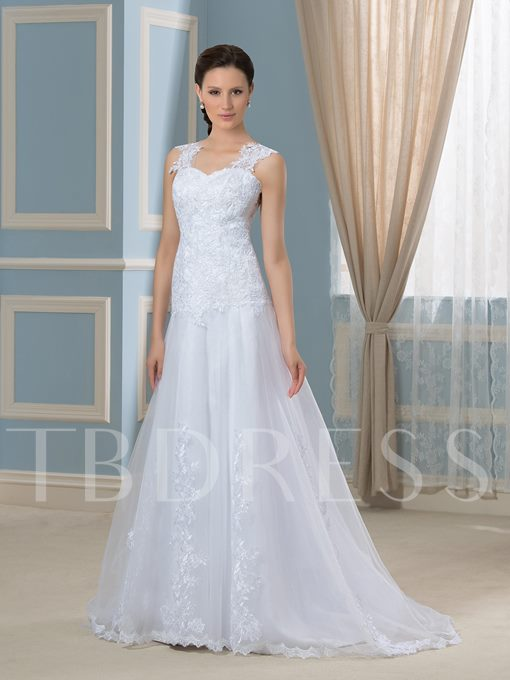 See-Through Tulle Back Appliques Lace A-Line Wedding Dress