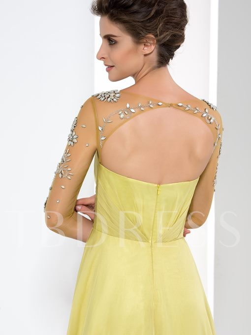 A-Line 3/4 Long Sleeve Beaded Ruffles Evening Dress