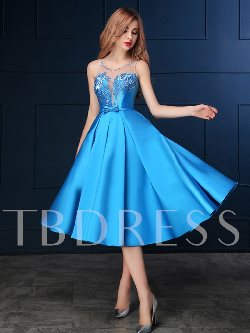 A-Line Round Neck Bow Embroidery Beading Prom Dress