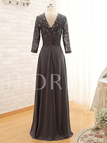 Long Sleeves Beaded Lace Chiffon Mother of the Bride Dress