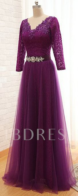 Purple Lace-Up Long Sleeves Floor-Length Mother of the Bride Dress