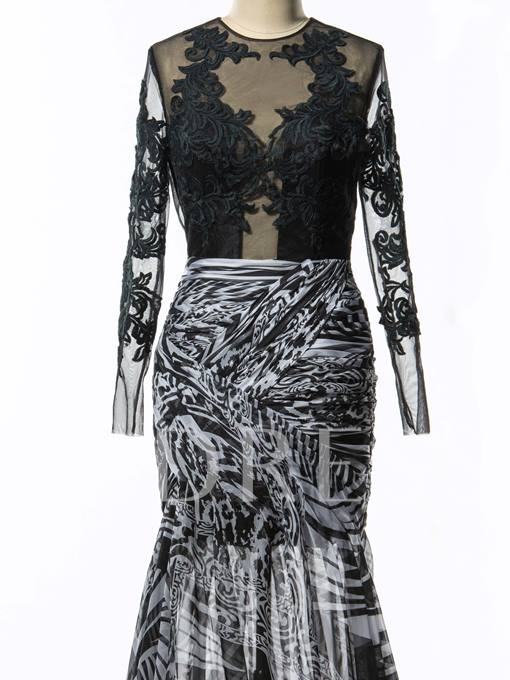 Cowl Neck Side-Split Long Sleeve Print Evening Dress