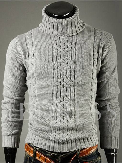 Men's Sweater with Jacquard Weave High Neck