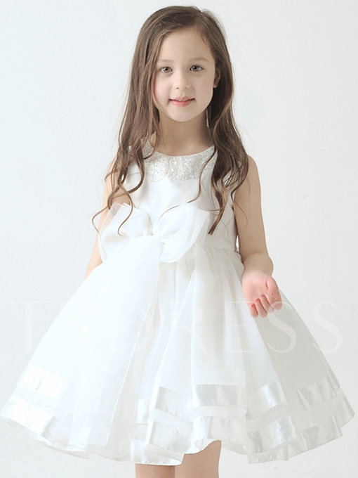 Crystal Beading Bowknot Knee-Length Flower Girl Dress