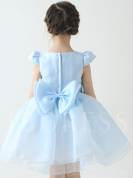 Appliques Flower Organza Short Girl`s Party Dress