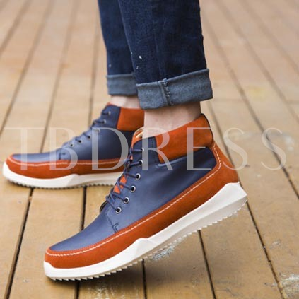 Flat Heel Round Toe Lace-Up Front Color Block Men's Ankle Boots