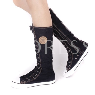 Round Toe Lace-Up Front Plain Mid-Calf Women's Boots