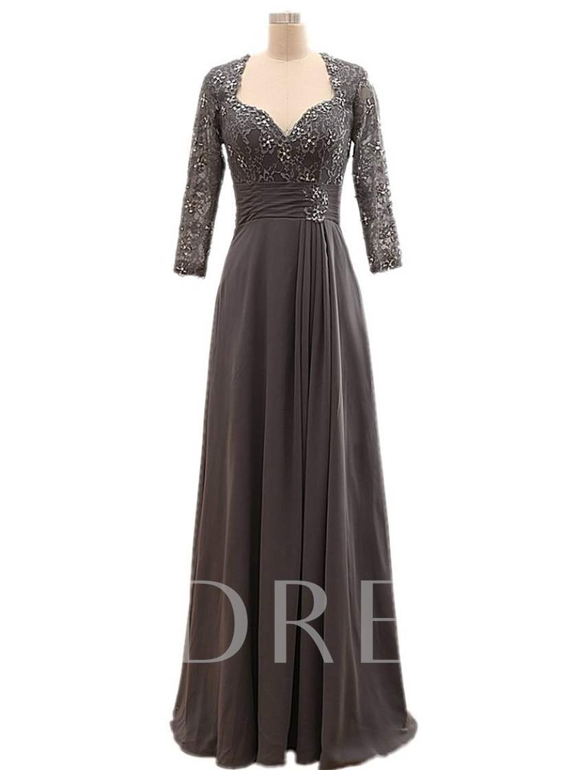 Beaded Lace Long Sleeves Mother of the Bride Dress