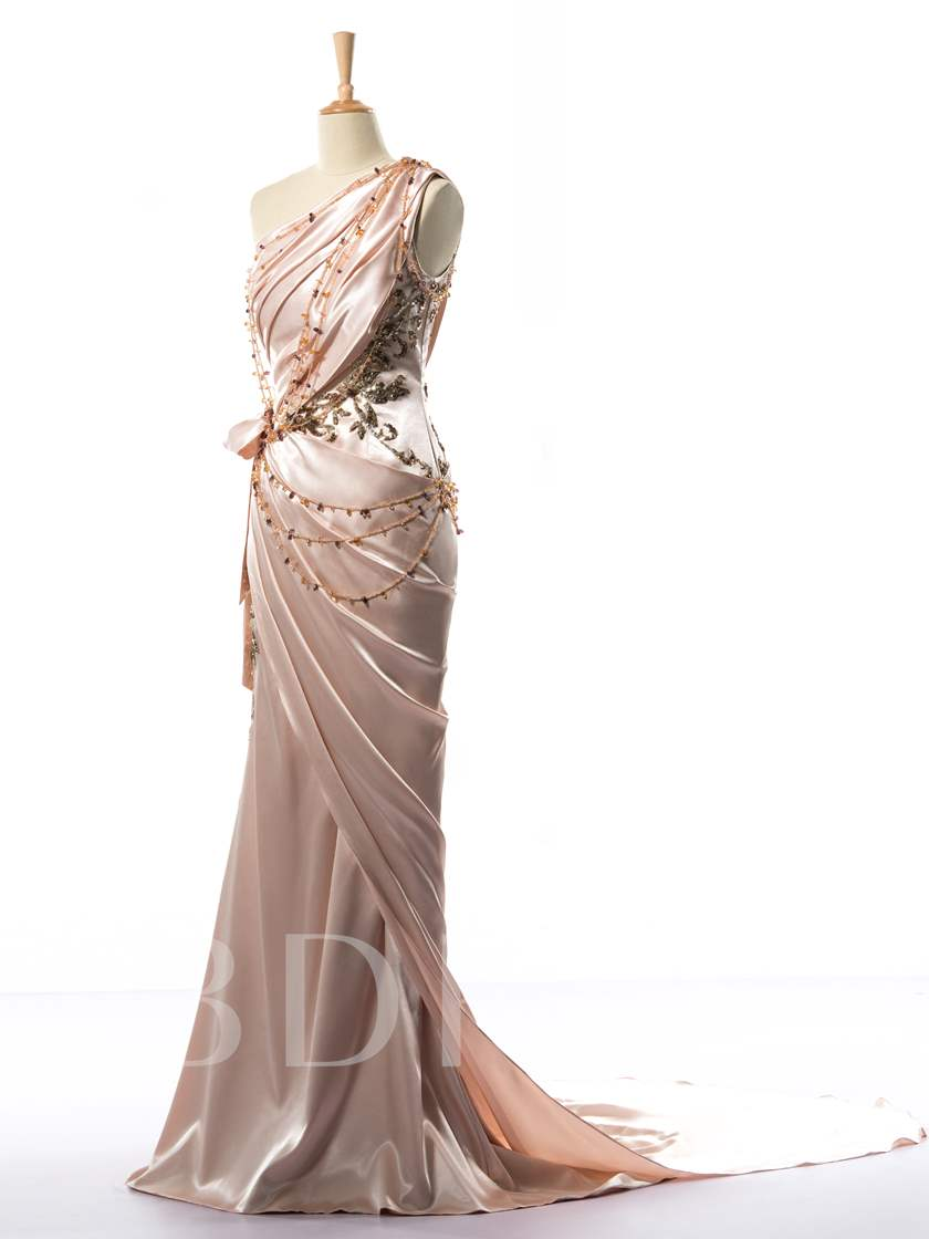 One-Shoulder Beaded Ruches Long Evening Dress