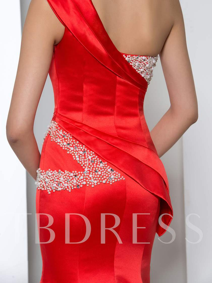 One Shoulder Pearls Beaded Mermaid Evening Dress