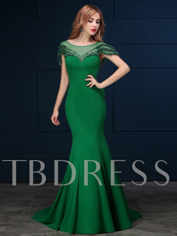 Mermaid Scoop Neck Short Sleeves Beading Bow Court Train Evening Dress