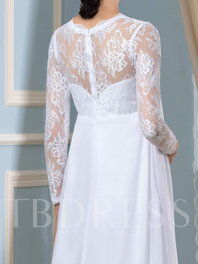 Lace Empire Waist Long Sleeve Pregnant Wedding Dress