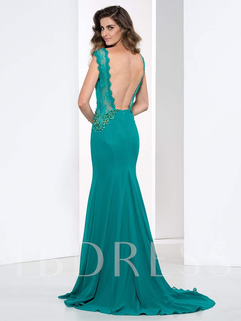 Scoop Neck Open Back Lace Beaded Mermaid Evening Dress