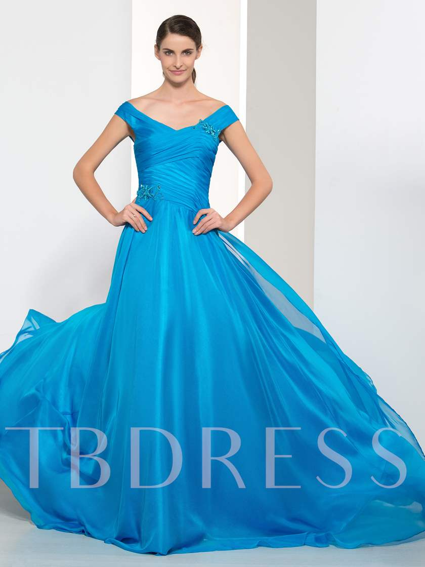 Off-The-Shoulder Pleats Beaded Court Train Evening Dress