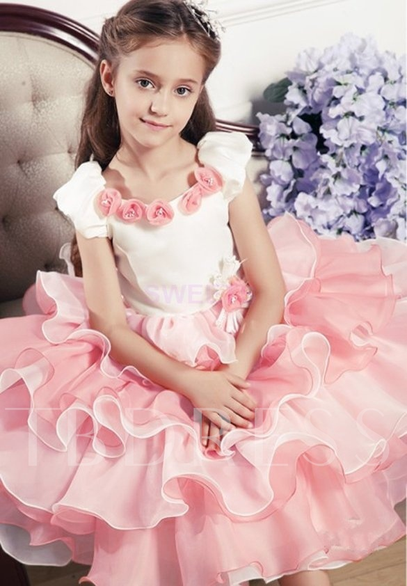 Short Sleeve Tiered Flowers Girls Party Dress