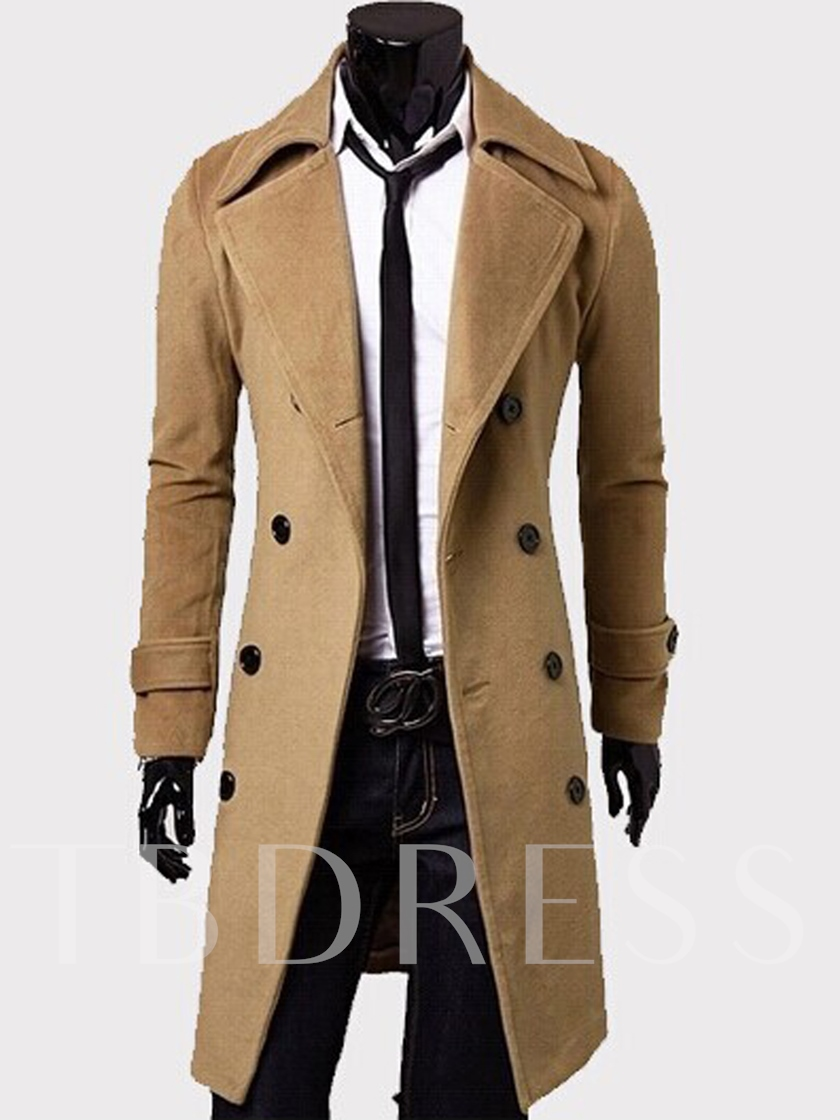 Notched Collar Long Pattern Slim Men's Topcoat