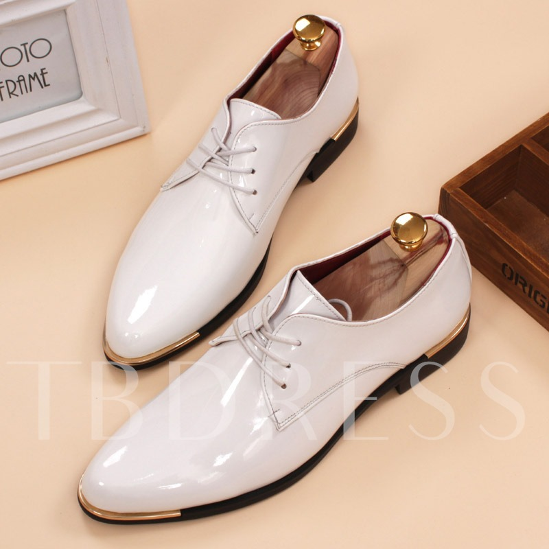 Sequins Pointed Toe Square Heel Men's Oxfords