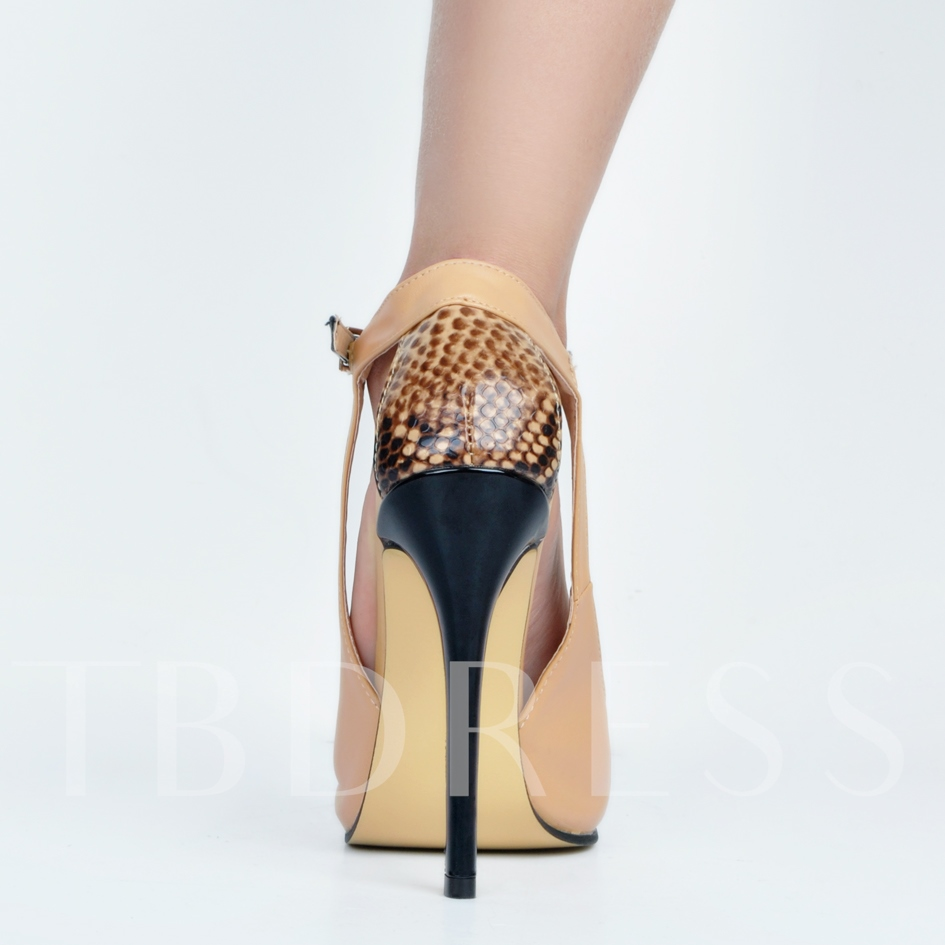 Pointed Toe Patchwork Stiletto Heel Buckle Women's Pumps